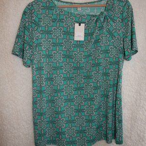 Silky Teal Green gray turquoise blouse / ss top